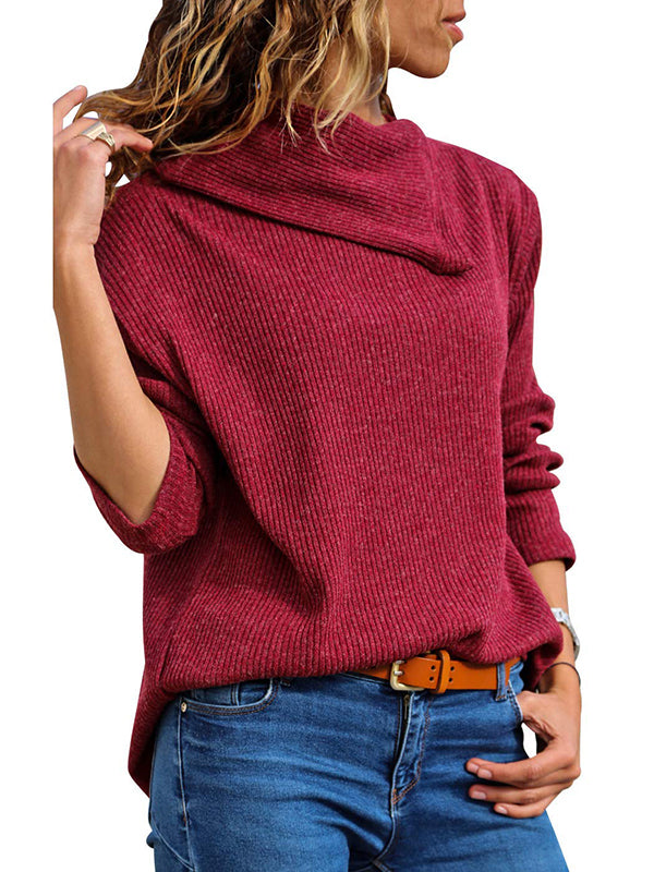 Chellysun Button Detail Rib Knit Sweater Pullover
