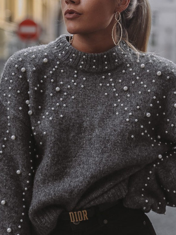 Chellysun Dark Gray With Pearl Sweater