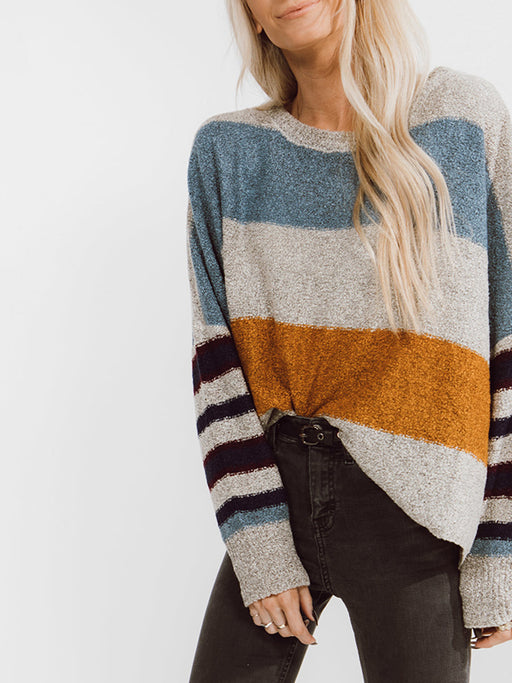 Chellysun Winter Colorful Stripe Sweater