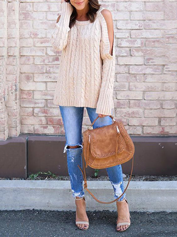 Chellysun Fashion Cold Shoulder Sweater