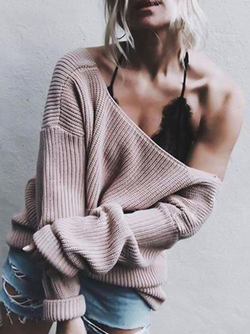 Chellysun Off the Shoulder Loose Sweater