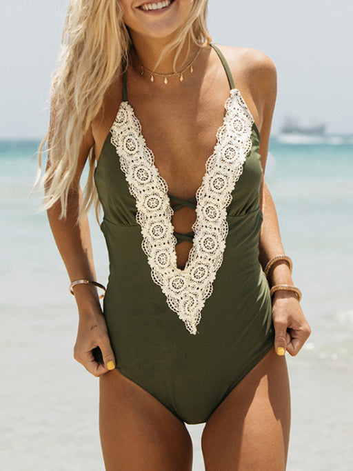 Chellysun Sexy Lace One Piece Swimsuit