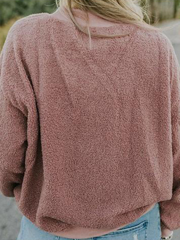 Chellysun Crew Neck Fluffy Sweatshirt