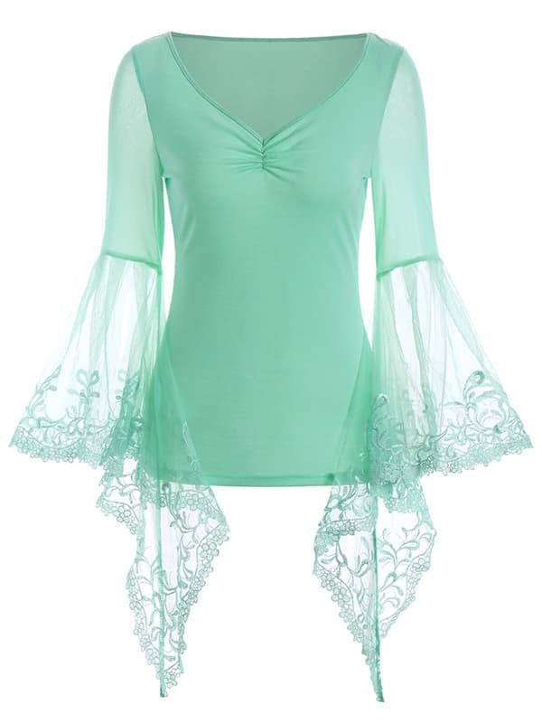 Chellysun Casual Solid Lace Patchwork Blouse