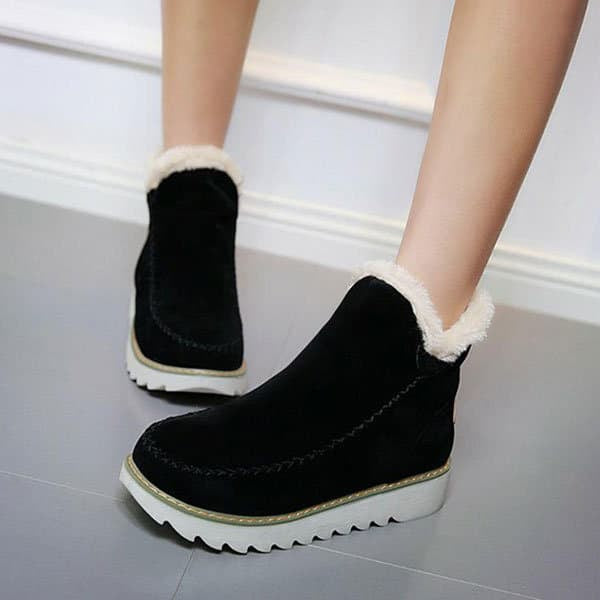 Chellysun Fur Lining Ankle Snow Boots