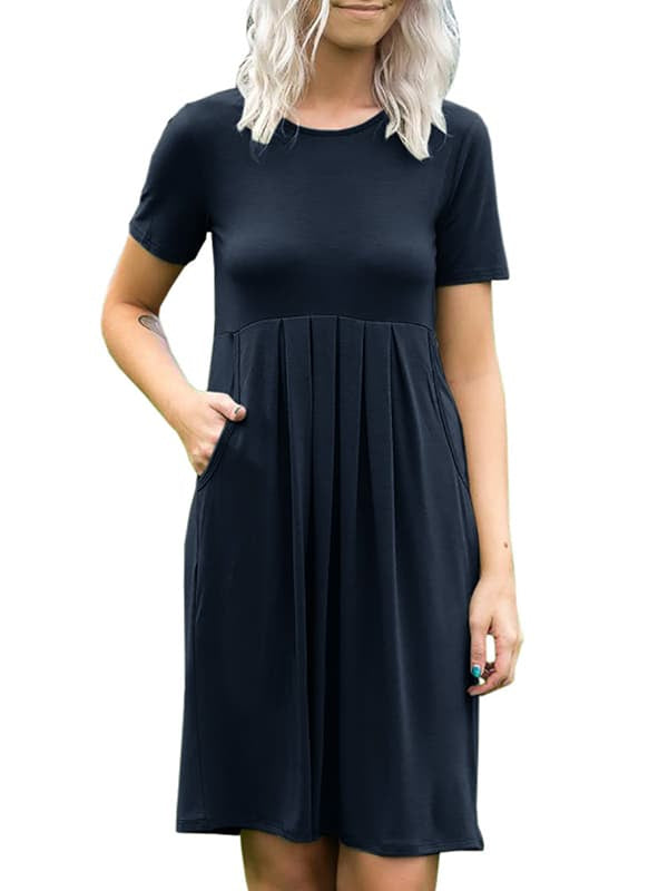 Chellysun Casual Solid Pleated Short Dress