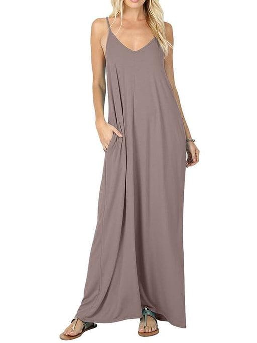 Chellysun Solid Sleeveless Long Dress
