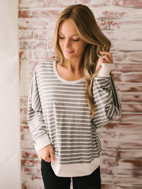 Chellysun Casual Striped Long Sleeve Blouse