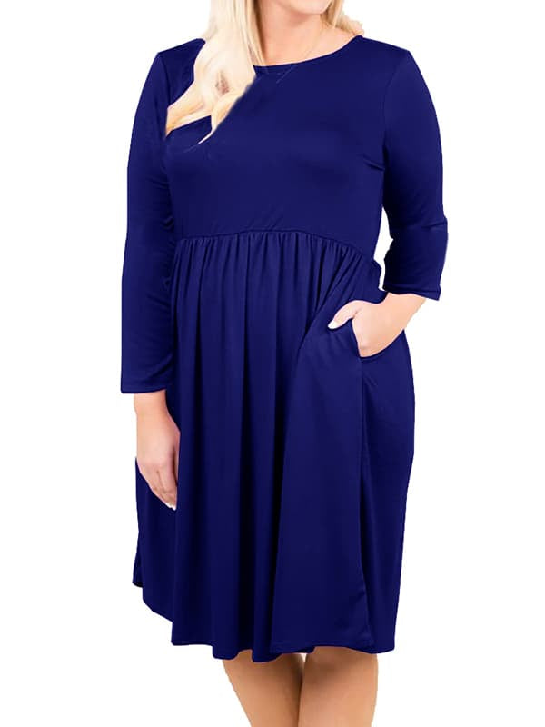 Chellysun Casual Plus Size Mid Dress