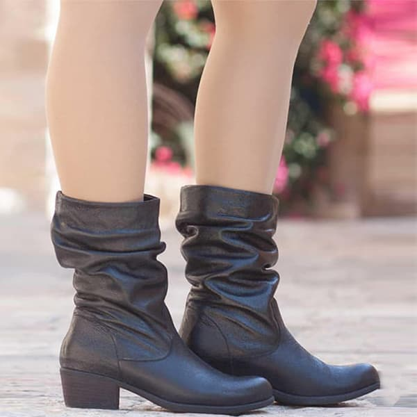 Chellysun Leather Slouch Ankle Boots