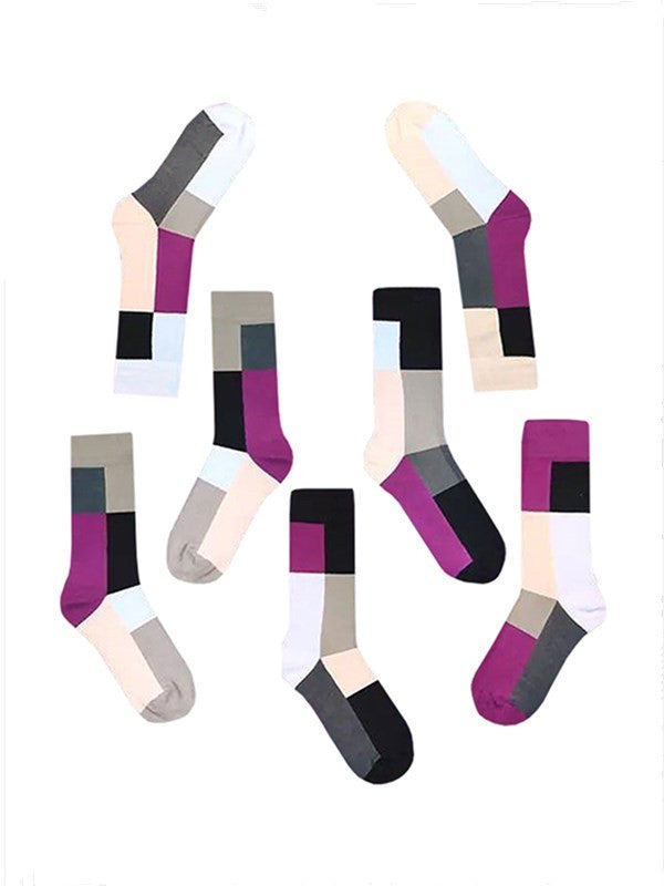 Chellysun Chic Assorted Colorful Cotton 7 Single Socks