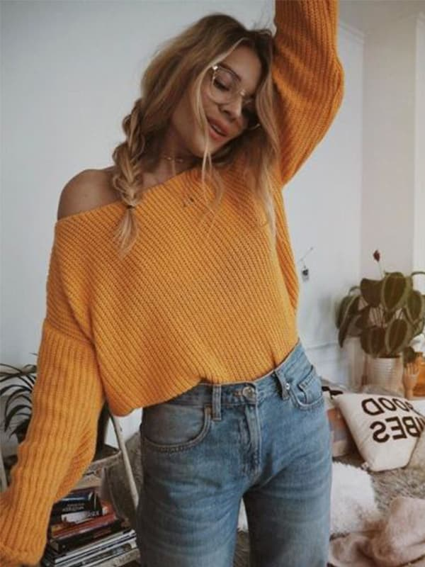 Chellysun Boat Neck Off the Shoulder Sweater