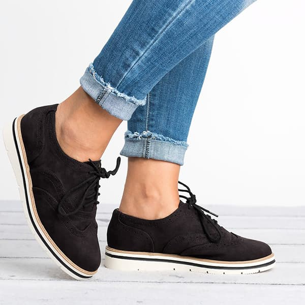 Chellysun Lace Up Perforated Oxfords Shoes