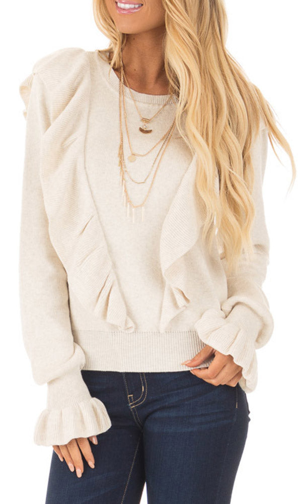 Chellysun O-neck Petals Long-sleeved Sweater