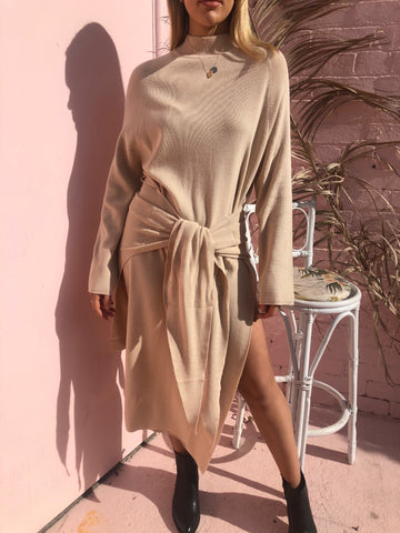 TIED UP KNIT DRESS - SAND