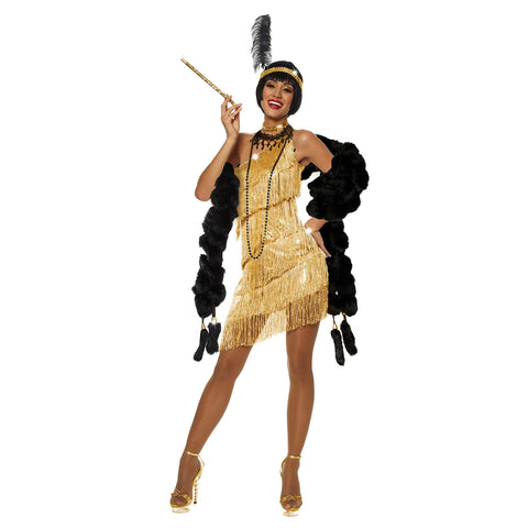 Dazzling Flapper Costume Gold