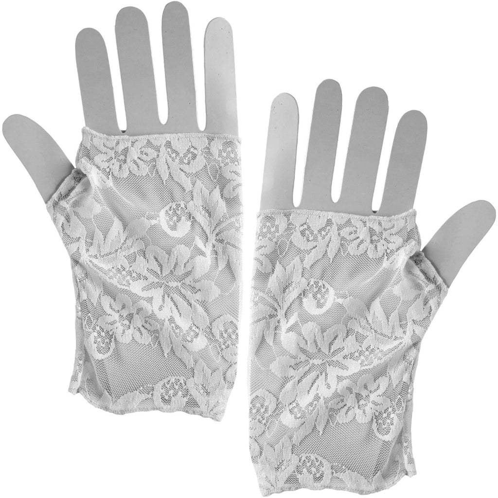 Lace Gloves Adult | White / Black