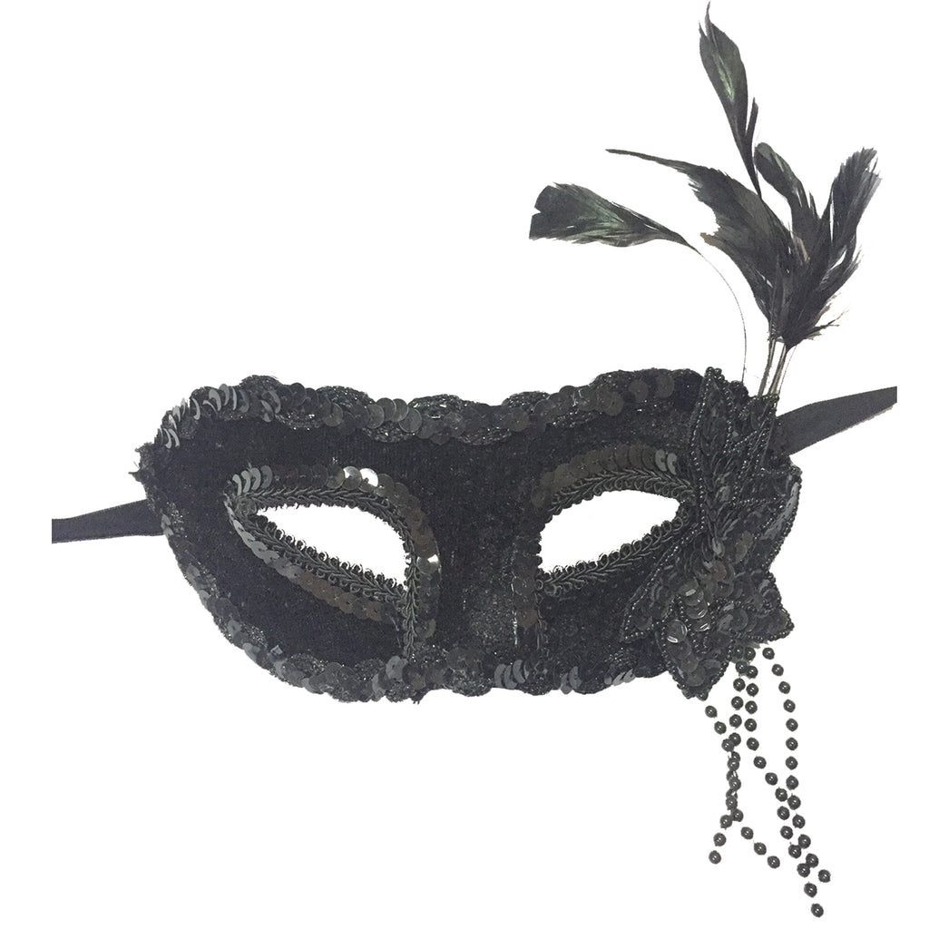 Black Sequin feather mask