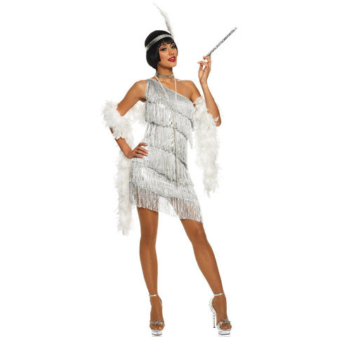 Dazzling Flapper Costume Silver