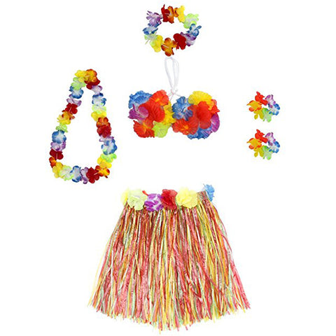 Girls Hawaiian Hula Skirt Multi-Color Set