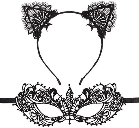 Lace Cat Ears Headband & Masquerade Eyemask set