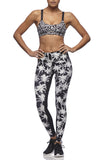 L'urv - Paradise Legging in white and black palm print