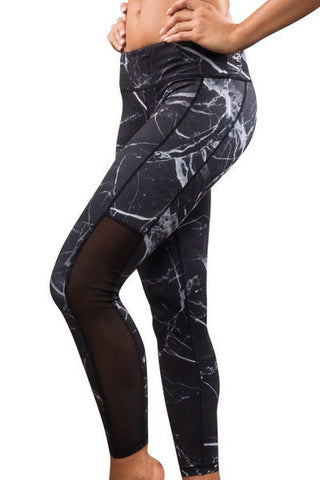 Black Marble Tights
