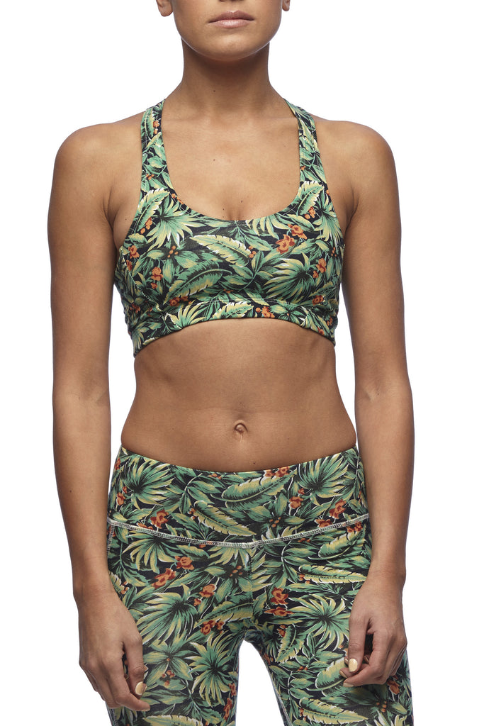 Yoga 213 - T Bar sports crop in Bird of Paradise print