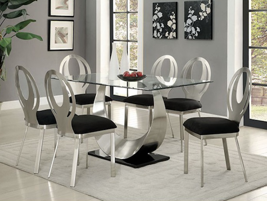 Etonnant Orla Black And Chrome Beveled Edge Glass Top Dining Set