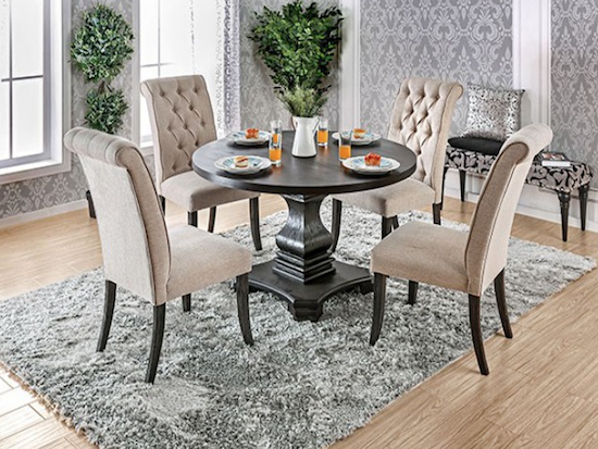 Nerissa Pedestal Table Set With Tufted Linen Chairs