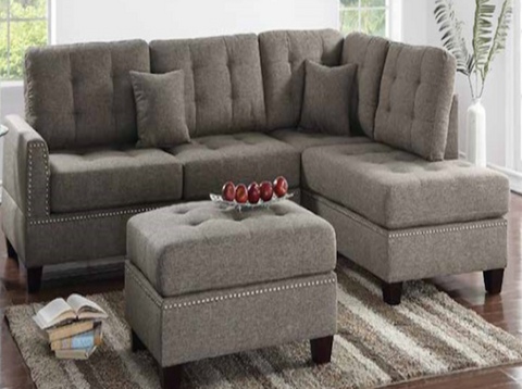 3PC Studded Detail Sectional