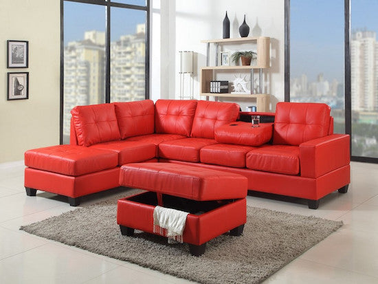 Red Reversible Sectional with Storage Ottoman