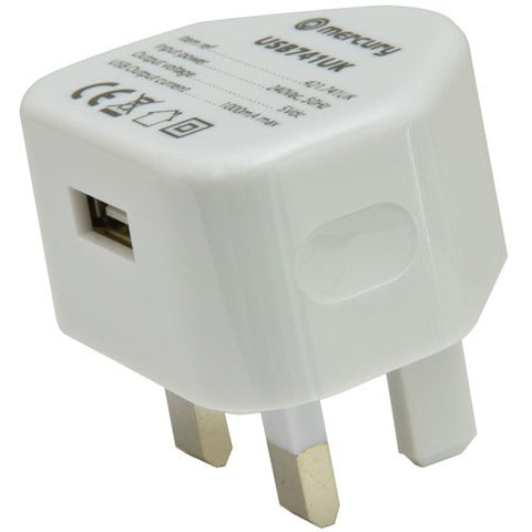 Mercury Compact USB Mains Plug Charger 1000mA White. 421.741UK