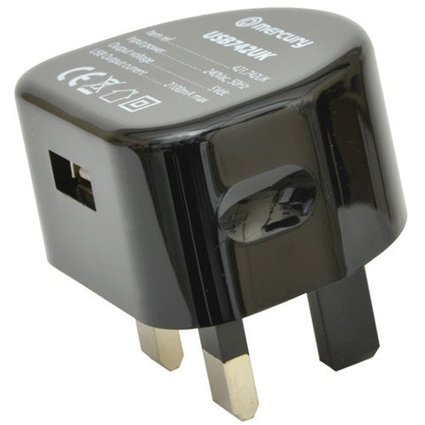 Mercury Compact USB Wall Charger 2100mA black. 421.742UK