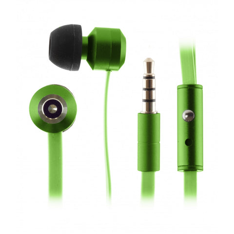Kitsound Ribbons Flat Cable Earphones with Mic and Anti Tangle in Green KSRIBBGN