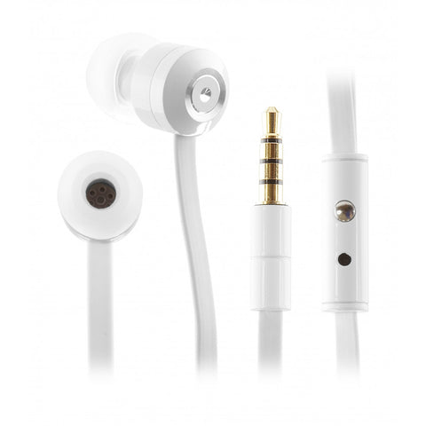 white kitsound metal ribbons headphones in ear design