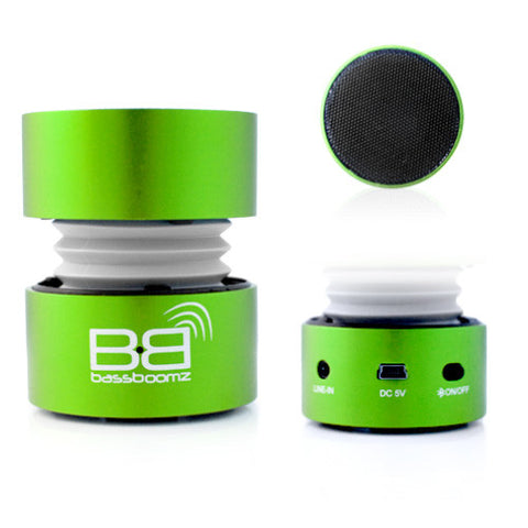 BassBoomz Bluetooth Rechargeable Small Speaker for Smartphones MP3 Players Tablets and iPod Green