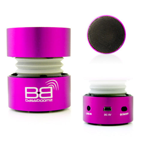 BassBoomz Bluetooth Speaker Rechargeable for Smartphones, MP3 Players, Tablets and Laptops Pink