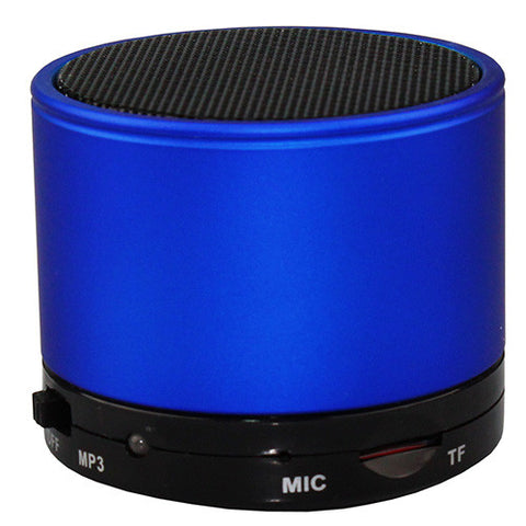 Bluetooth Wireless Mini Portable Rechargeable Speaker Handsfree and Micro SD Slot. Blue Finish