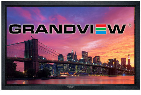 grandview cyber series fixed frame projector screen wall mounted