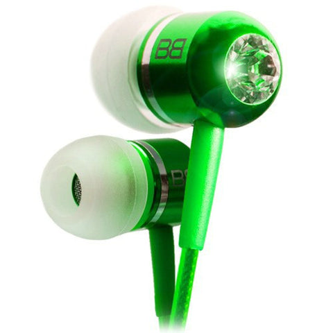 BassBuds Green Crystaltronics Earphones with Memory foam Earbuds