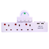 3 way uk mains socket adaptor with usb sockets