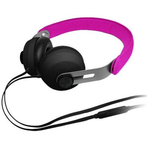 EOps NoiseZero O2+ Premium Headphones with In line mic for iOS and Android Magenta