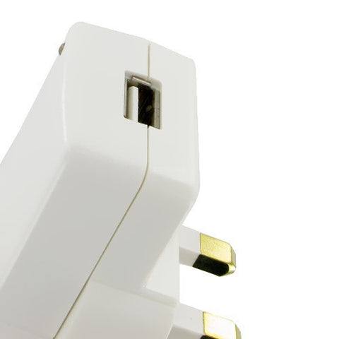 3 pin uk plug mains usb charger white