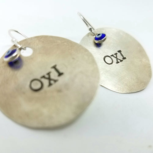 OXI Silver Earrings with Glass Mati
