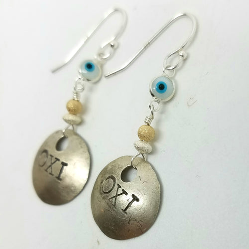 OXI Silver Earrings on Silver Hooks with Greek Mati