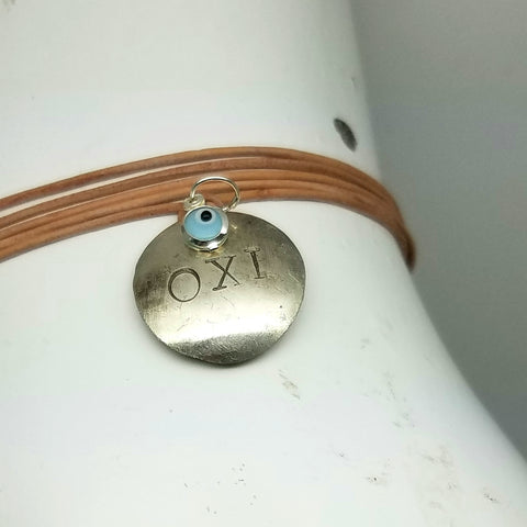 OXI Silver Adjustable Necklace/Bracelet with Glass Mati on Leather, 42""