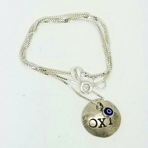 OXI Silver Necklace on Silver Box Chain