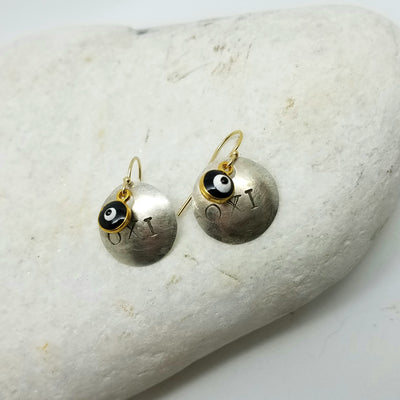 OXI Silver Earrings with Glass Mati on Gold Hooks