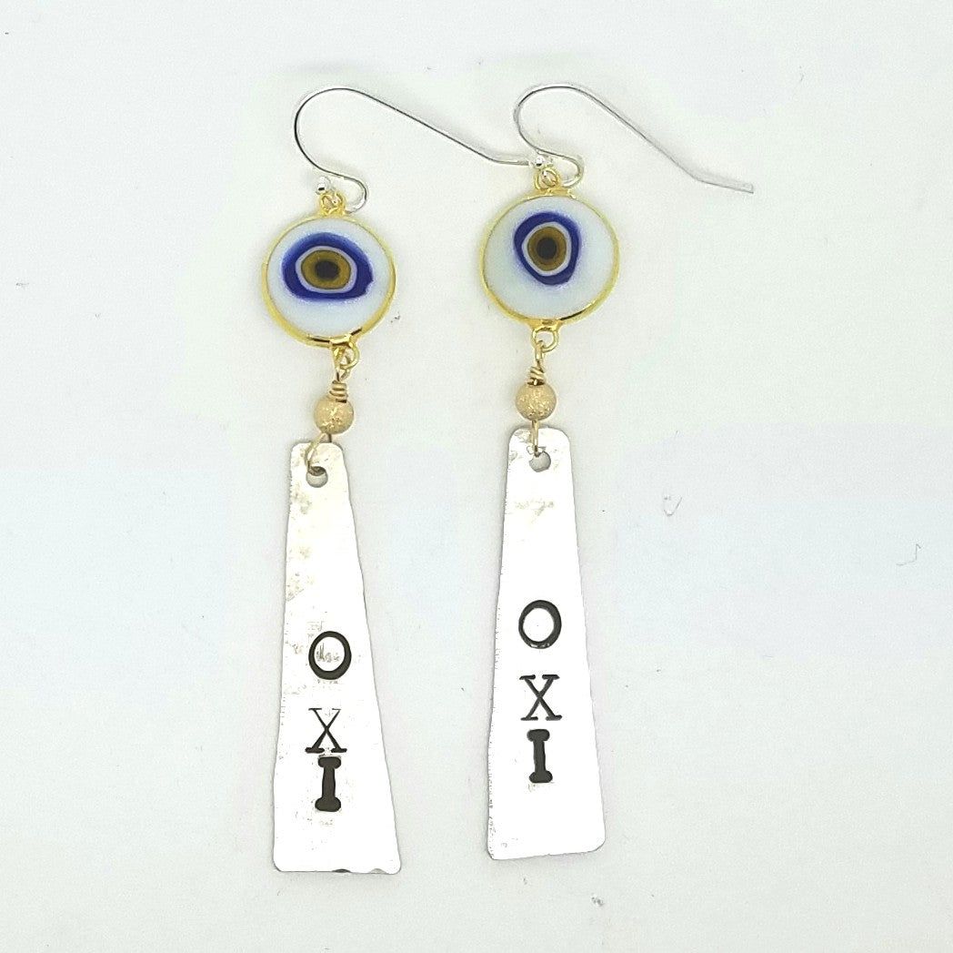 OXI Narrow Silver Earrings with Glass Mati on Sterling Silver Hooks